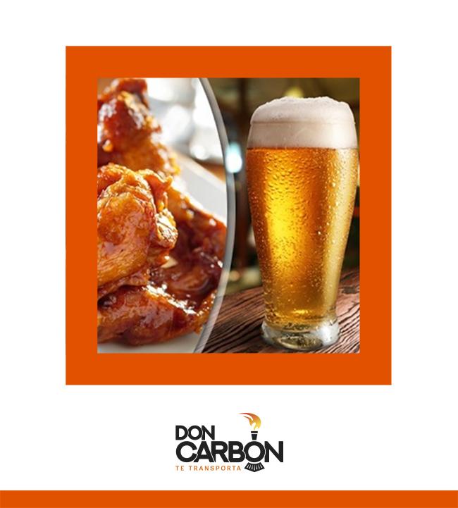 Alitas y cerveza $89 - DON CARBÓN